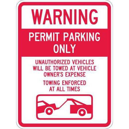 LYLE T1-1065-EG_18x24 Sign, Warning Permit Parking, 24 x18 In