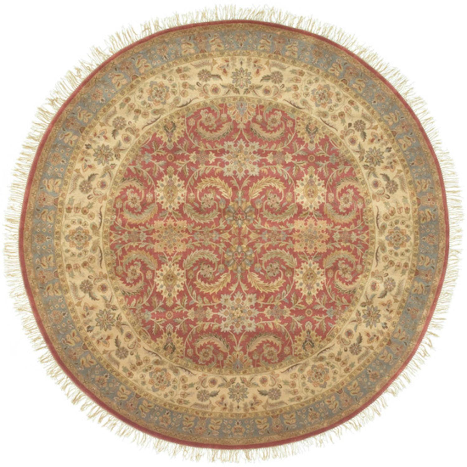 8' Chesterfield Khaki Green & Mossy Stone Wool Round Area Throw Rug