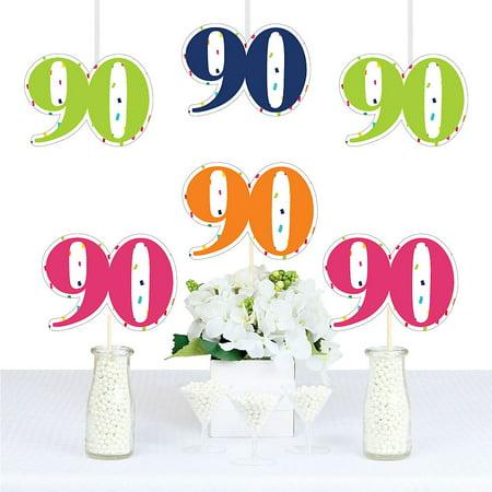 90th Birthday - Cheerful Happy Birthday - Thirty Shaped Decorations DIY Colorful Nintieth Birthday Party Essentials - Set of 20](Dirty Thirty Birthday Decorations)