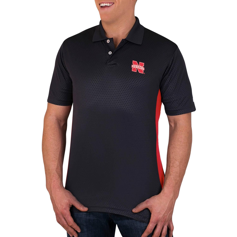 NCAA Nebraska Cornhuskers Men's Synthetic Embossed-Pattern Polo