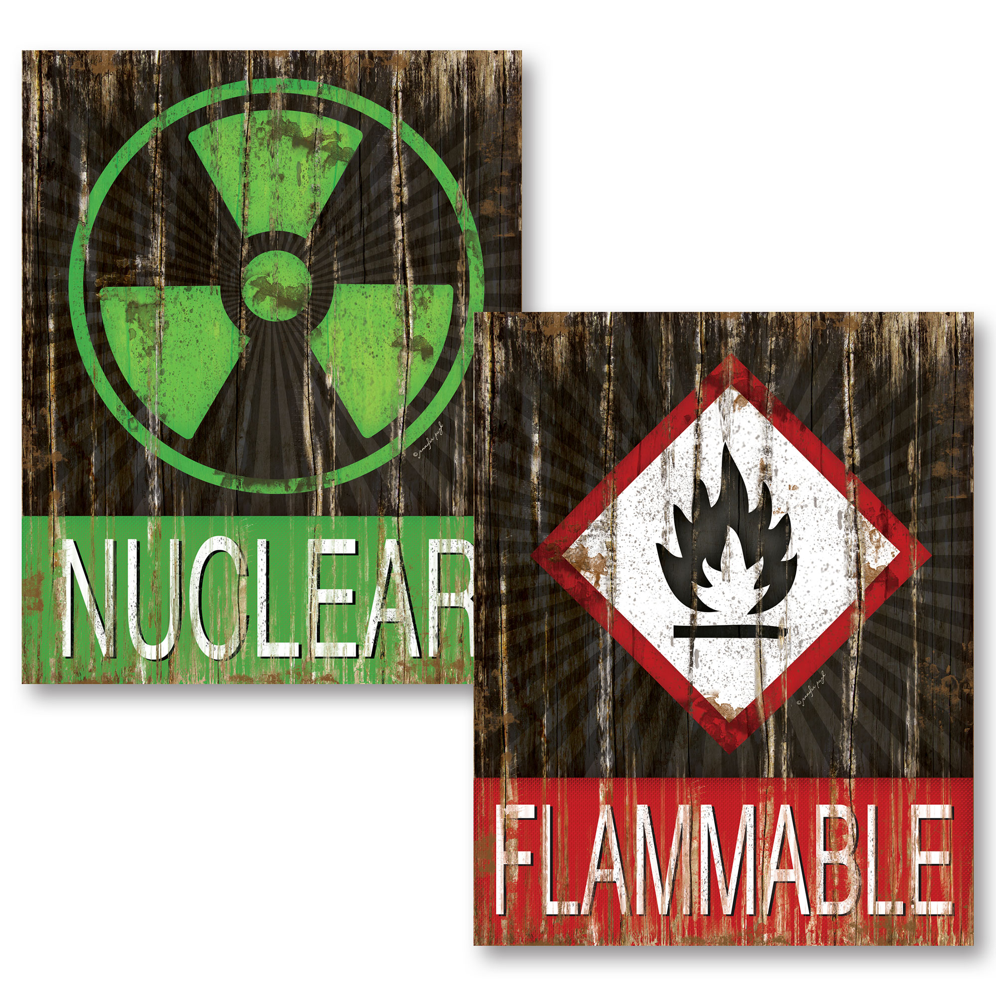 "Distressed Science ""Nuclear"" and ""Flammable"" Set (Printed on Paper, Not Wood); Two 11x14in Unframed Paper Posters"