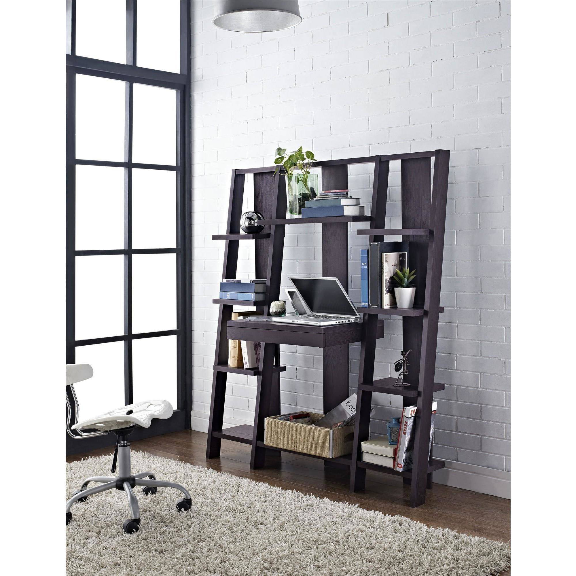 Altra Furniture Ladder Bookcase With Desk In Espresso Finish