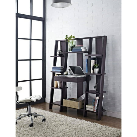 (Altra Furniture Ladder Bookcase with Desk in Espresso Finish)