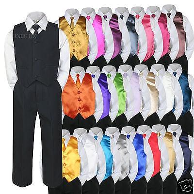 6pc Formal Baby Boy Toddler Black Vest Necktie Suit w/ Extra Color Vest Set S-7 ()