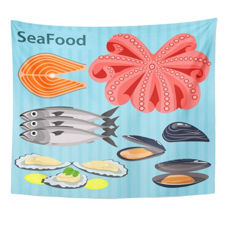 REFRED Sea Food Ingredients The Shells Oysters and Mussels with Lemon Fish Salmon Trout Tentacles Octopus Wall Art Hanging Tapestry Home Decor for Living Room Bedroom Dorm 51x60 inch
