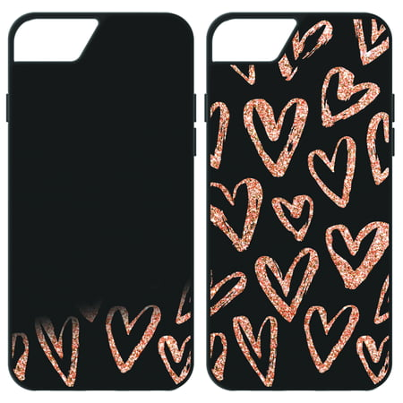 quality design 44e11 421fe ONN Black & Rose Gold Liquid Glitter Hidden Hearts Design Phone Case for  iPhone 6 Plus, iPhone 6s Plus, iPhone 7 Plus, iPhone 8 Plus