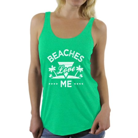 Awkward Styles Beaches Love Me Racerback Tank Top for Women Beach Sleeveless Shirt Funny Summer Outfit Beach Party Gifts Summer Vacation Shirt for Women Summer Beach Tshirt Gifts for