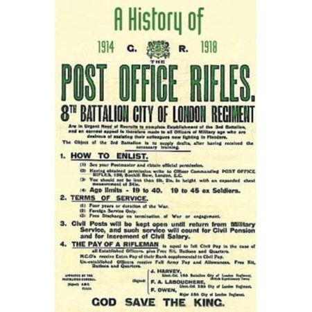 History Of The Post Office Rifles  8Th Battalion City Of London Regiment 1914 To 1918