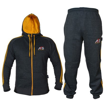 ARD CHAMPS™ Fleece Tracksuit Hoodie Trouser MMA Gym Boxing Running Jogging Suit Color Charcoal, Size