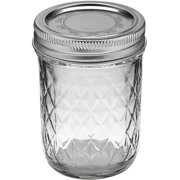 Ball Quilted Crystal Jelly Jar with Lid and Band, Regular Mouth, 8 Ounces, 12 Count