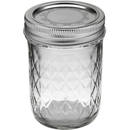 Ball Quilted Crystal Jelly Jar with Lid and Band, Regular Mouth, 8 Ounces, 12 Count ()
