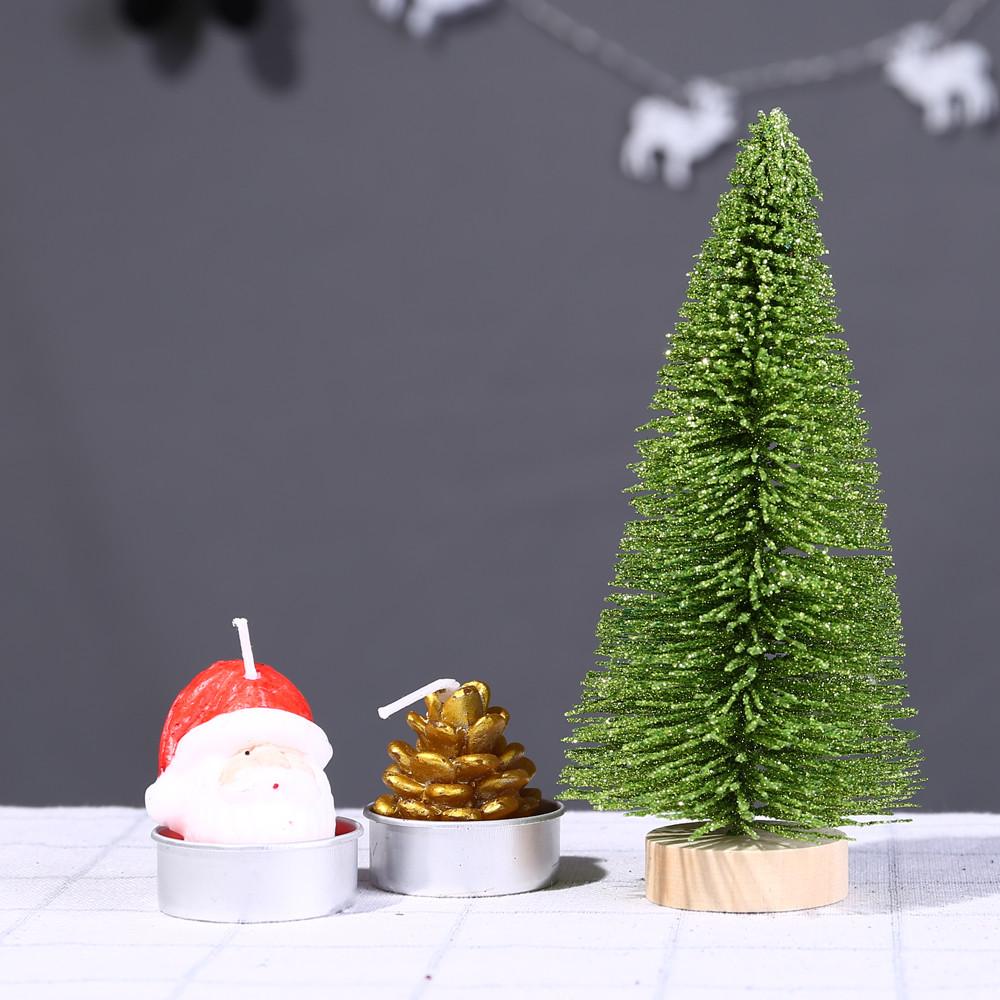 Christmas Tree Mini Light Green Pine Tree With Wood Base Diy Craft