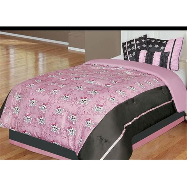 Kids Pirate Jane 5 or 6 Piece Comforter Set in Pink and Black-5 Piece Twin