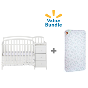 Dream On Me Mini Crib & Changing Table Combo + Mattress Value Bundle
