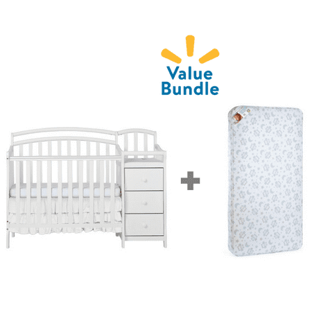 Dream On Me Mini Crib & Changing Table Combo + Mattress Value Bundle (Portable Crib With Changing Table)