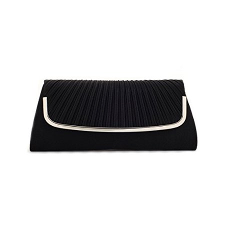 Damara Womens Simple Pleated Satin Clutch Evening Bag Black - image 1 of 1