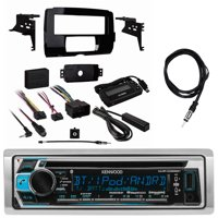 "Kenwood KMRD372BT Single DIN Bluetooth In-Dash CD/AM/FM/Digital Media Marine Stereo Receiver, Metra Harley Davidson Single Din Dash Kit, Enrock Marine EKMR2 Antenna - 40 """