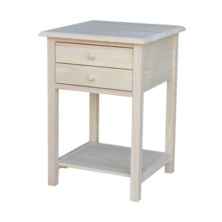 International Concepts Unfinished Lamp Table W/2 Drawers