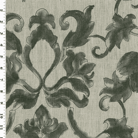 Natural Vintage Linen Black Printed Home Decorating Fabric By The Yard