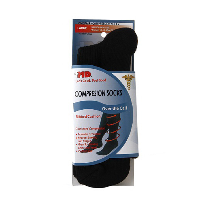 Md Ribbed Cushion Over The Calf Compression Socks Black, Large - 1 Pr