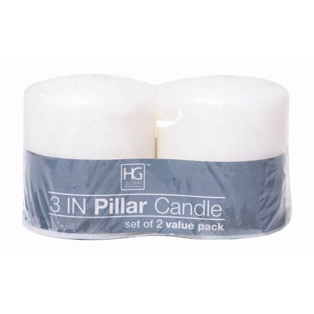 Spa Pillar Candle - Hosley's 2 Pack White Unscented Pillar Candle- 3' High. Ideal for Wedding, Church, Vigil, Emergency Lanterns, Spa, Aromatherapy, Party, Reiki, Candle Garden. W1
