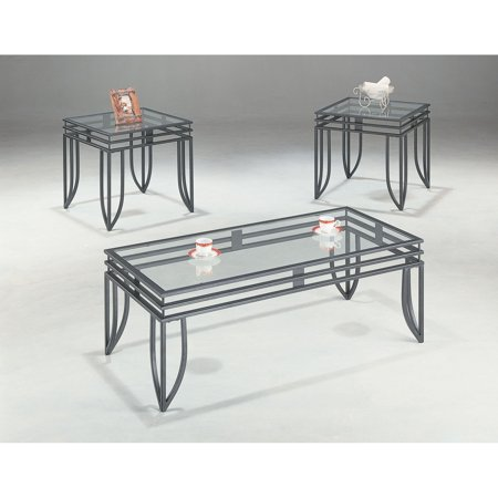 3 Piece Glass Top Coffee Table Sets.Coaster Furniture Glass Top 3 Piece Matrix Coffee Table Set Black