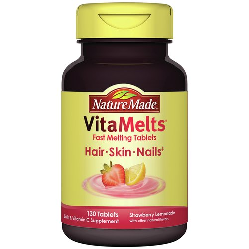 Nature Made VitaMelts Strawberry Lemonade Hair, Skin and Nails Dietary Supplement Tablets, 130 count