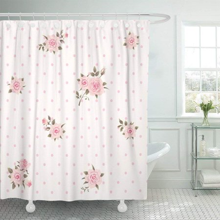 PKNMT Girlish Floral Polka Dot Shabby Chic Pattern Pink Roses Shower Curtain 60x72 inches
