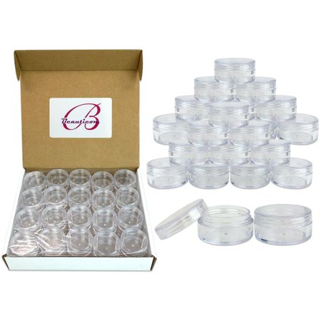 Beauticom 40 Pieces High Quality 10 Gram 10 ml (0.3 oz) Plastic Clear Round Cream Lotion Beauty Sample Jars with Clear Lids