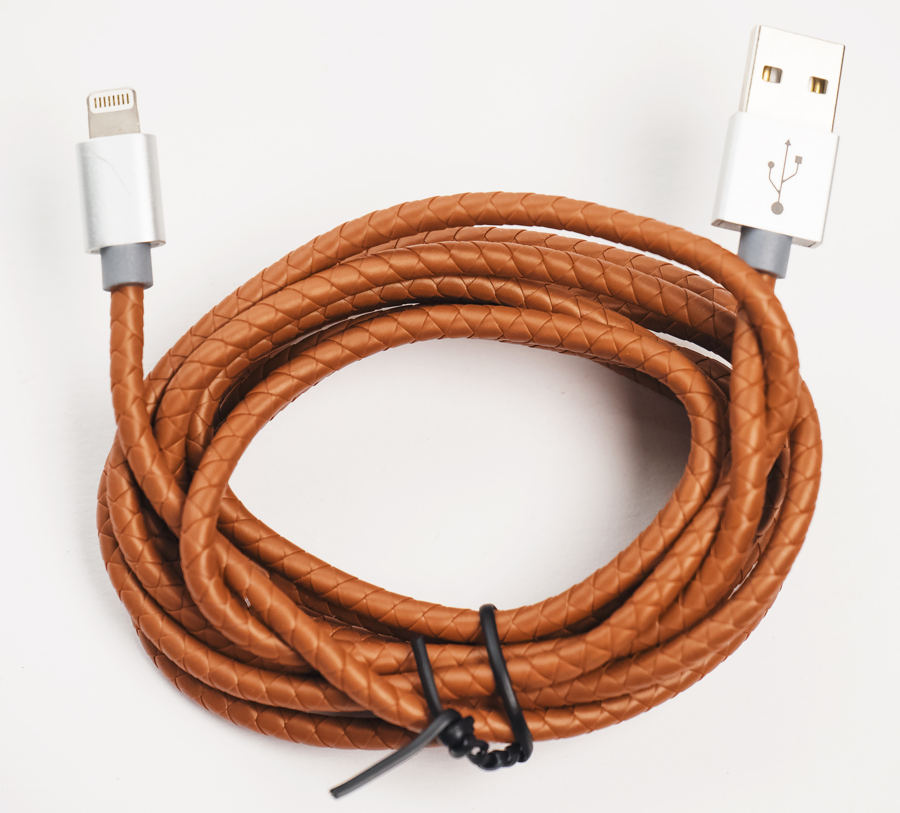 Scoprion Security Products Braided iPhone Charging Cable, Brown Leather, 6 Feet