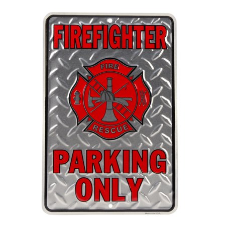 Firefighter Plaque (Firefighter Parking Only Embossed Diamond Plate Tin Sign Wall Decor Fireman Gift)