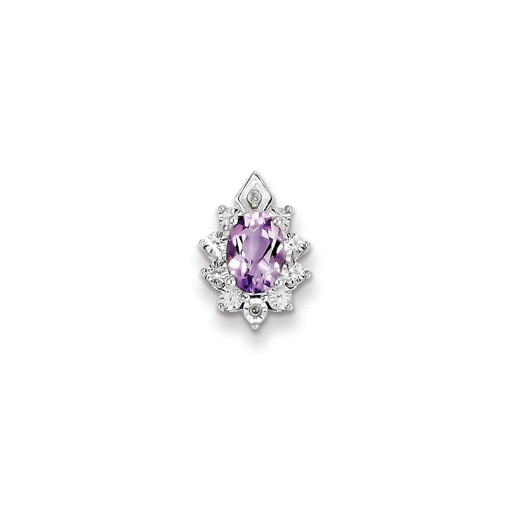 Sterling Silver Diamond & Pink Amethyst Pendant. Gem Wt- 0.74ct