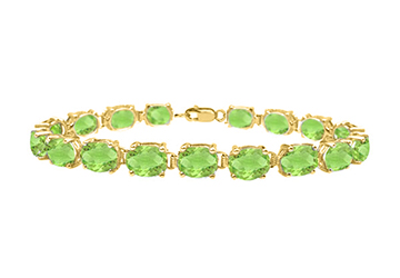 Bracelets tennis peridot oval cut prong set 18K yellow gold vermeil in sterling silver 15ct TGW by Love Bright