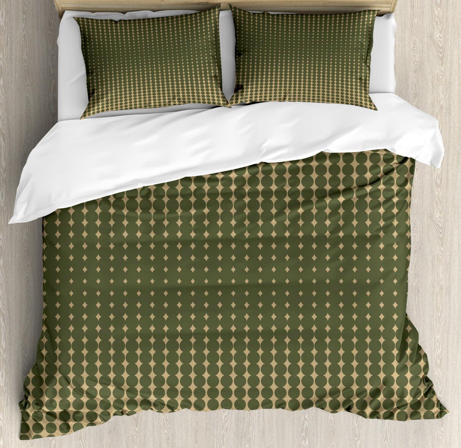 Olive Green Duvet Cover Set Abstract Dotted Halftone Design