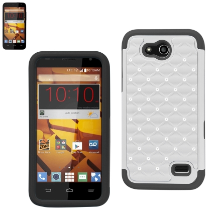 REIKO ZTE SPEED HYBRID HEAVY DUTY JEWELRY DIAMOND CASE IN BLACK WHITE
