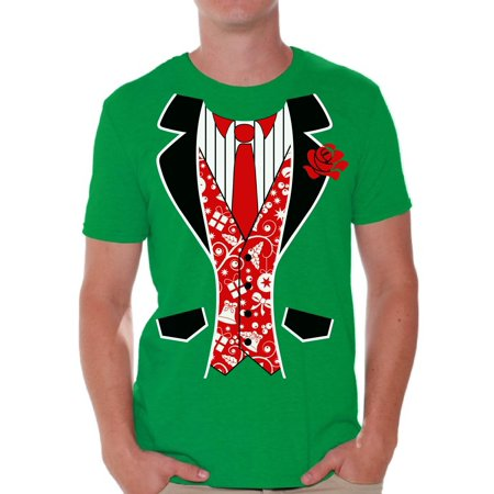 Awkward Styles Red Tuxedo Christmas Tshirt Men's Tuxedo Ugly Christmas T Shirt Xmas Tuxedo Shirts Funny Christmas Outfit Xmas Party Gifts for Him Christmas Blazer Shirt Christmas Shirts for Men ()