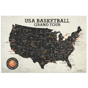 Basketball Grand Tour Stadium Map Poster 24x16 inches