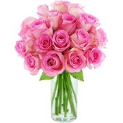 Arabella Farm Direct Bouquet of 18 Fresh Cut Pink Roses with a Free Glass Vase