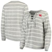 Nebraska Cornhuskers Women's Piko Lace-Up Pullover Sweatshirt - Heathered Gray