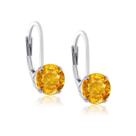 Rhodium Plated Sterling Silver 6mm Brilliant Round Yellow Cubic Zirconia Lever Back Dangling Earrings