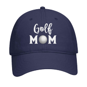 Women's Sports Mom Embroidered Ladies Fit Dad Hat with Metal Buckle Back, Navy, Golf Mom