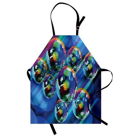 70s Party Apron Colorful and Funky Vibrant Disco Balls in Abstract Night Club Dancing Theme Art, Unisex Kitchen Bib Apron with Adjustable Neck for Cooking Baking Gardening, Multicolor, by Ambesonne
