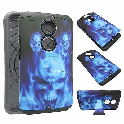 - For Motorla X2 XT1097 Hybrid Drop Protective Shock Proof Shock Absorb Enhanced Bumper Dual Layer Designer Case Shield Box Blue Devil Case Cover Kickstand