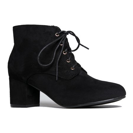 J. Adams Low Block Heel Ankle Boot - Casual Easy lace up Bootie - Faux Suede Walking S