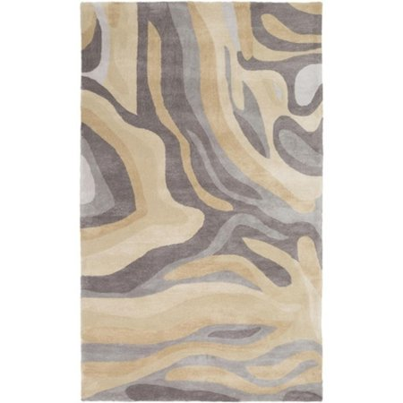 3.5' x 5.5' Painted Canyon Charcoal Gray and Desert Beige Hand Tufted Area Throw (Hand Painted Gravy)