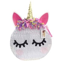 Large Round Unicorn Pinata with Pink Ears, White, 18in x 24in