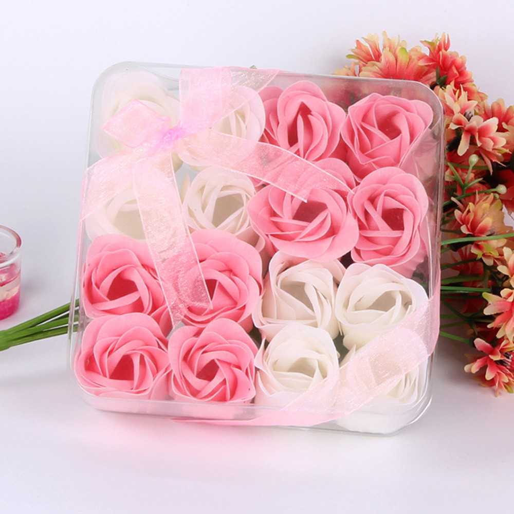 Mosunx 16Pcs Heart Scented Bath Body Petal Rose Flower Soap Wedding Decoration Gift Red
