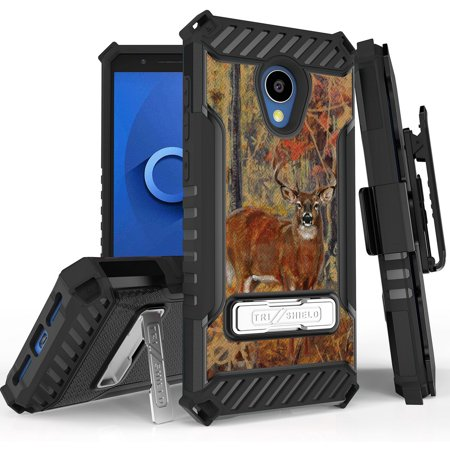Tri-Shield [HUNTER SERIES] Rugged Case Metal Kickstand Cover + Belt Clip Holster [PREY DESIGN] for Alcatel TCL LX, A502DCP, A502DL (Straight Talk/Simple Mobile/Walmart Family)
