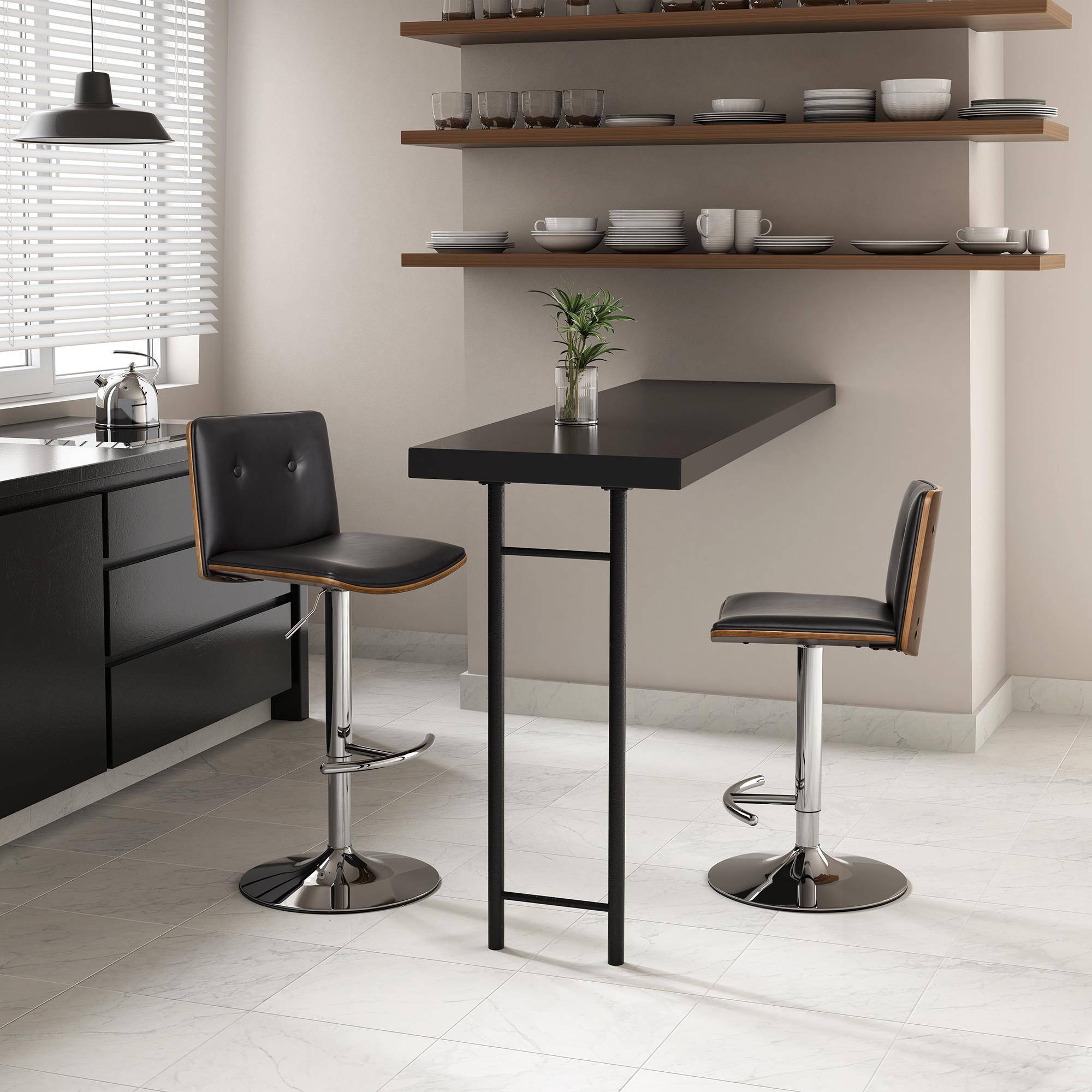 Dorel Home Products Wexford Swivel Barstool, Faux Leather/Walnut, Multiple Colors