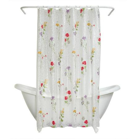 Zenna Home Wild Flower Peva Shower Curtain Liner Floral